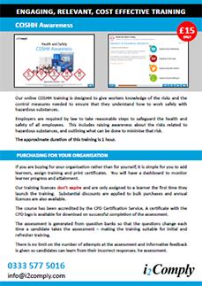 COSHH Awareness Online Training Course