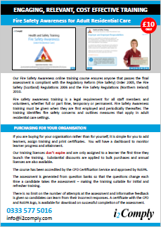Fire Safety Awareness (Adult Residential Care) Training Course Online