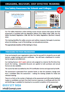 Fire Safety Awareness (Schools and Colleges) Flyer
