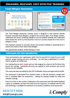 Food Allergen Awareness Online Training Course